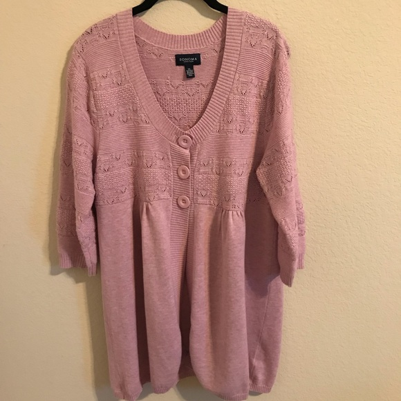 Sonoma Sweaters - Sonoma Cardigan half button front long Pink Sz XL